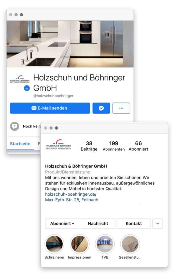 Visualisierung des Instagram und Facebook Feeds der Schreinerei Holzschuh & Böhringer aus Fellbach bei Stuttgart